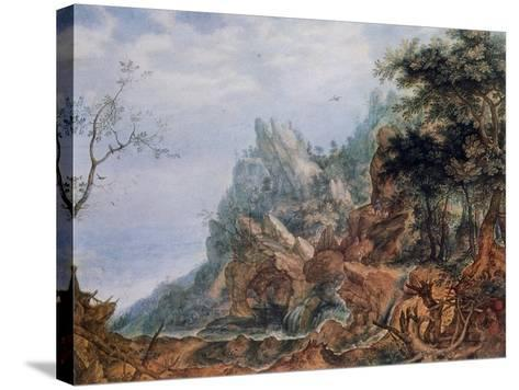 St Jerome in a Rocky Landscape, C1596-1639-Roelandt Savery-Stretched Canvas Print