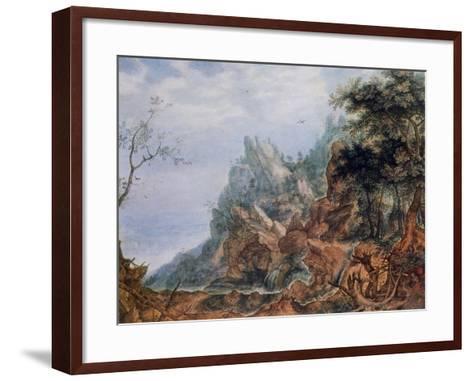 St Jerome in a Rocky Landscape, C1596-1639-Roelandt Savery-Framed Art Print