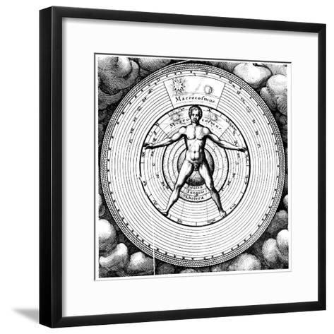 Diagram Showing Man's Position in the Universe, 1617-19-Robert Fludd-Framed Art Print