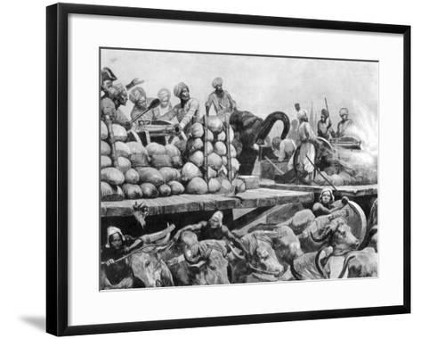 The Nawab Siraj Ud Daulah's Artillery on its Movable Platform, India, 1757-Richard Caton Woodville II-Framed Art Print