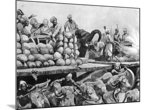 The Nawab Siraj Ud Daulah's Artillery on its Movable Platform, India, 1757-Richard Caton Woodville II-Mounted Giclee Print