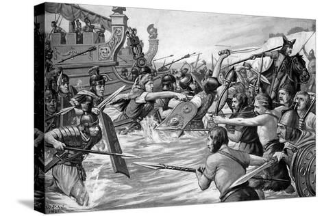 The Landing of Julius Caesar in Britain, 55 Bc, (C1920)-Richard Caton Woodville II-Stretched Canvas Print