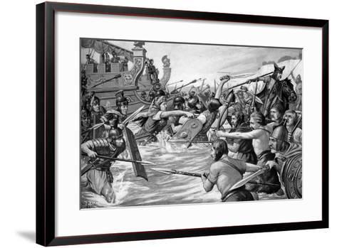The Landing of Julius Caesar in Britain, 55 Bc, (C1920)-Richard Caton Woodville II-Framed Art Print