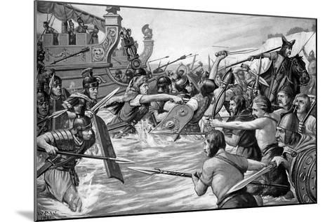 The Landing of Julius Caesar in Britain, 55 Bc, (C1920)-Richard Caton Woodville II-Mounted Giclee Print