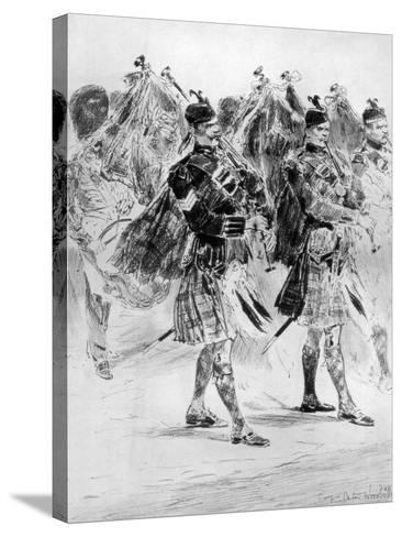To the Wail of the Pipes, the Highland Soldiers' Lament, 1910-Richard Caton Woodville II-Stretched Canvas Print