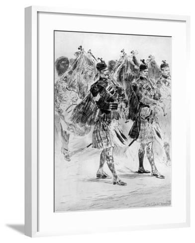 To the Wail of the Pipes, the Highland Soldiers' Lament, 1910-Richard Caton Woodville II-Framed Art Print