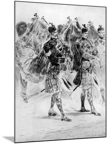 To the Wail of the Pipes, the Highland Soldiers' Lament, 1910-Richard Caton Woodville II-Mounted Giclee Print