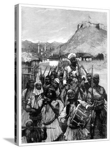 Albanians from Scutari Cross the Boyana to Occupy Dulcigno, 1880-Richard Caton Woodville II-Stretched Canvas Print