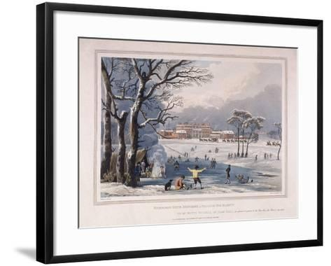Buckingham House and St James's Park in the Winter, London, 1817-Robert Havell the Younger-Framed Art Print