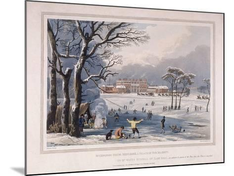 Buckingham House and St James's Park in the Winter, London, 1817-Robert Havell the Younger-Mounted Giclee Print
