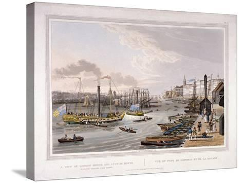 London Bridge, London, 1820-Robert Havell the Younger-Stretched Canvas Print
