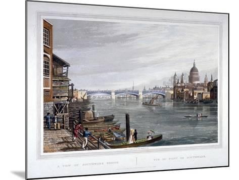 View of the East Side of Southwark Bridge, London, 1820-Robert Havell the Younger-Mounted Giclee Print