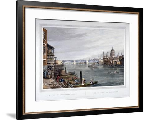 View of the East Side of Southwark Bridge, London, 1820-Robert Havell the Younger-Framed Art Print