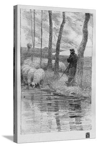 A Shepherd with His Flock by a River, 1899-Robert Hermann Sterl-Stretched Canvas Print