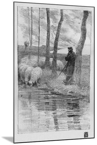 A Shepherd with His Flock by a River, 1899-Robert Hermann Sterl-Mounted Giclee Print