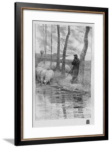 A Shepherd with His Flock by a River, 1899-Robert Hermann Sterl-Framed Art Print