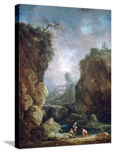 Landscape with Waterfall and Aqueduct, C1750-1808-Robert Hubert-Stretched Canvas Print