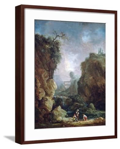 Landscape with Waterfall and Aqueduct, C1750-1808-Robert Hubert-Framed Art Print