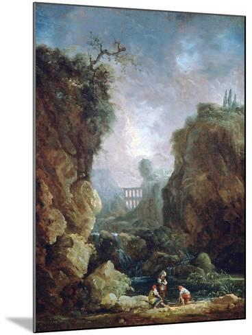 Landscape with Waterfall and Aqueduct, C1750-1808-Robert Hubert-Mounted Giclee Print