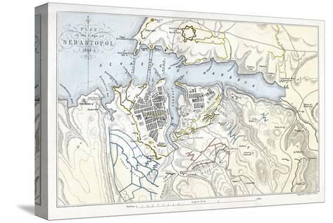 Map Showing the Siege of Sevastopol, Crimean War, 1854-1855-Robert Walker-Stretched Canvas Print