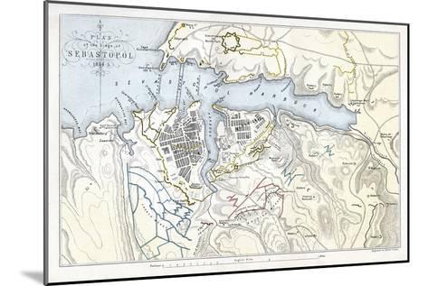 Map Showing the Siege of Sevastopol, Crimean War, 1854-1855-Robert Walker-Mounted Giclee Print