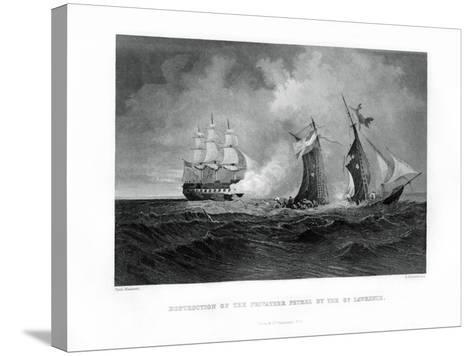 Destruction of the Privateer 'Petrel' by the 'St Lawrence, 28 July 1861, (1862-186)-R Hinshelwood-Stretched Canvas Print