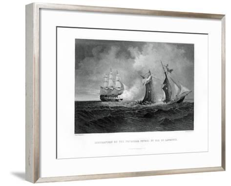 Destruction of the Privateer 'Petrel' by the 'St Lawrence, 28 July 1861, (1862-186)-R Hinshelwood-Framed Art Print
