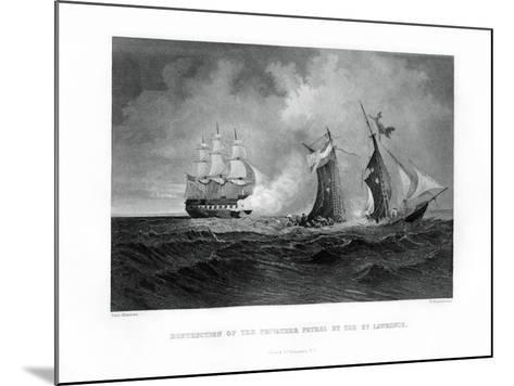 Destruction of the Privateer 'Petrel' by the 'St Lawrence, 28 July 1861, (1862-186)-R Hinshelwood-Mounted Giclee Print