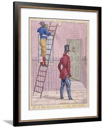 One of the Advantages of Oil over Gas, 1821-Richard Dighton-Framed Art Print