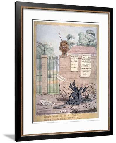 Humpty Dumpty Sat on a Wall..., 1821-Richard Dighton-Framed Art Print
