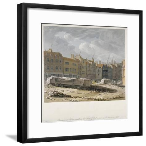 Remains of London Wall Which Were Pulled Down in 1817, City of London, 1817-Robert Blemmell Schnebbelie-Framed Art Print