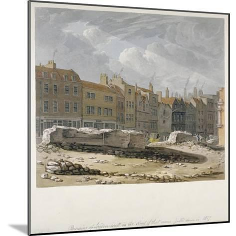 Remains of London Wall Which Were Pulled Down in 1817, City of London, 1817-Robert Blemmell Schnebbelie-Mounted Giclee Print