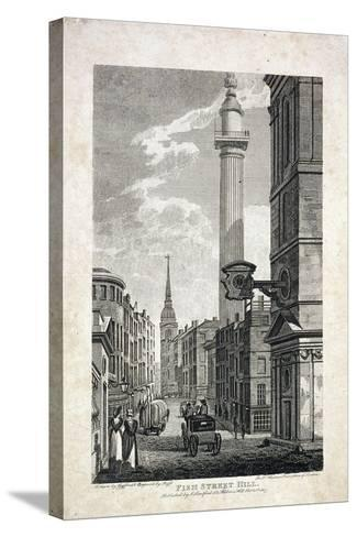 Fish Street Hill and the Monument, London, 1817-Robert Cabbel Roffe-Stretched Canvas Print
