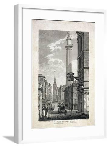 Fish Street Hill and the Monument, London, 1817-Robert Cabbel Roffe-Framed Art Print