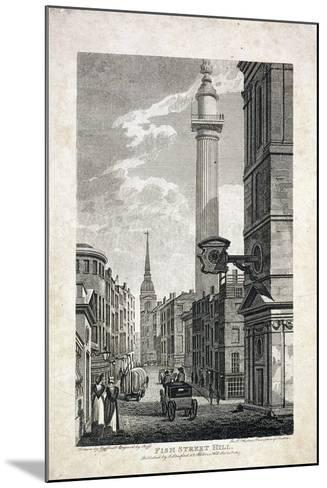 Fish Street Hill and the Monument, London, 1817-Robert Cabbel Roffe-Mounted Giclee Print
