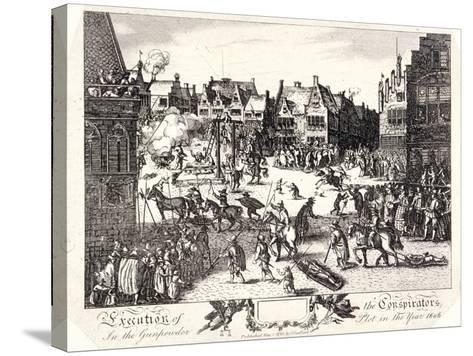Execution of the Conspirators in the Gunpowder Plot in Old Palace Yard, Westminster, 1606-R Romney-Stretched Canvas Print