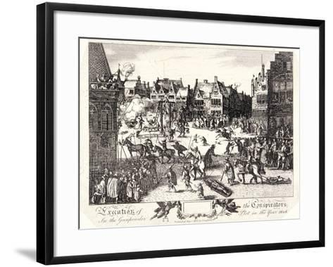 Execution of the Conspirators in the Gunpowder Plot in Old Palace Yard, Westminster, 1606-R Romney-Framed Art Print