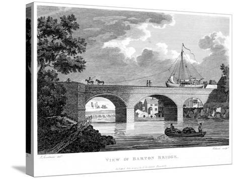 Barge Crossing the Barton Aqueduct over the Irwell, Salford, Greater Manchester, C1794-Robert Pollard-Stretched Canvas Print
