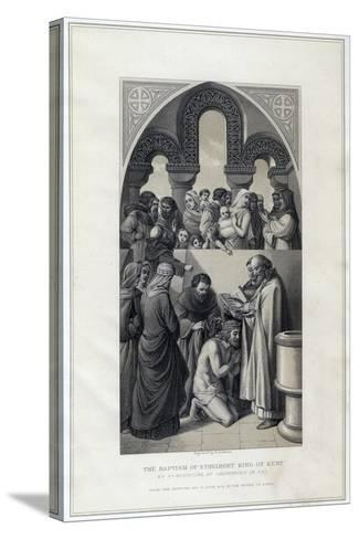 The Baptism of Ethelbert King of Kent, by St Augustine, Canterbury in 597-R Anderson-Stretched Canvas Print