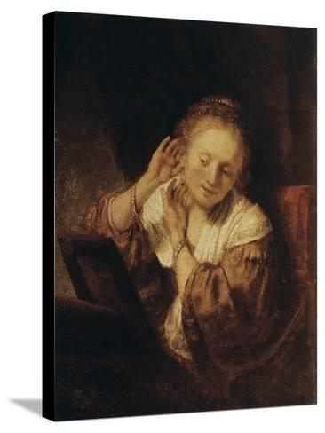 Young Woman with Earrings, 1657-Rembrandt van Rijn-Stretched Canvas Print