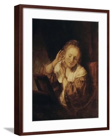 Young Woman with Earrings, 1657-Rembrandt van Rijn-Framed Art Print