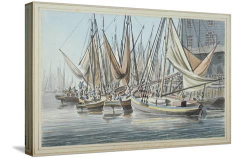 View of Billingsgate Wharf with Boats on the Water, City of London, 1790-Robert Clevely-Stretched Canvas Print