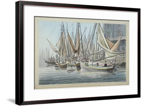 View of Billingsgate Wharf with Boats on the Water, City of London, 1790-Robert Clevely-Framed Art Print