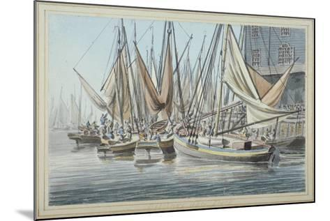View of Billingsgate Wharf with Boats on the Water, City of London, 1790-Robert Clevely-Mounted Giclee Print
