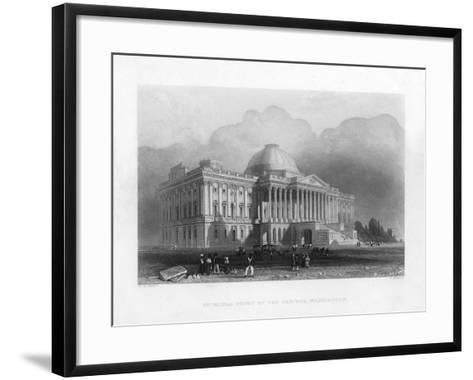 Principal Front of the Capitol, Washington, C1820-R Brandard-Framed Art Print