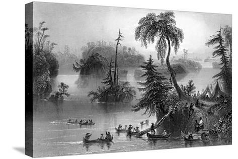 Scene Among the Thousand Isles, Canada, 1842-R Brandard-Stretched Canvas Print