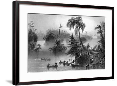 Scene Among the Thousand Isles, Canada, 1842-R Brandard-Framed Art Print