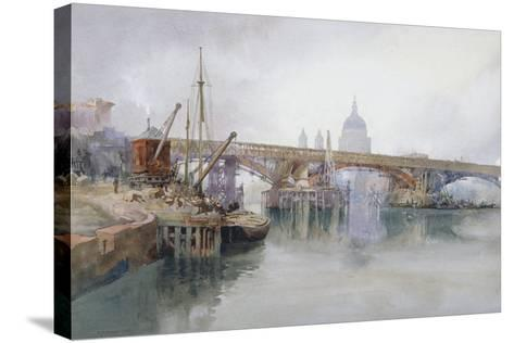 Southwark Bridge in Course of Demolition, 1915-Richard Henry Wright-Stretched Canvas Print