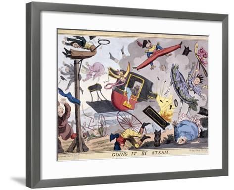 Going it by Steam, (1829)-Robert Seymour-Framed Art Print