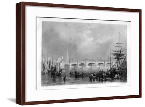 The Bridge and Broomielaw Quay, Glasgow, Scotland, 1886-R Wallis-Framed Art Print
